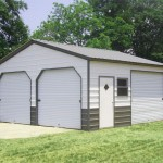 top notch metal products Double enclosed carport with vertical roof image